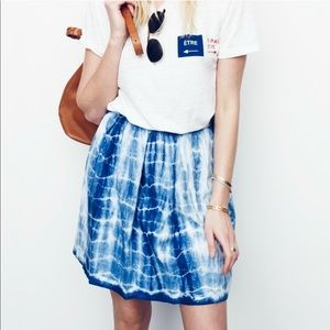 Madewell Tie Dye Indigo Shibori Linen Skirt